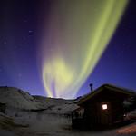 Aurora Over Caribou Bluff Cabin by Joe Connolly